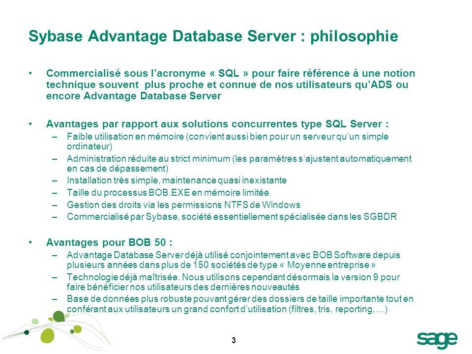 3 Sybase Advantage Database Server : philosophie Commercialisé sous lacronyme « SQL » pour faire référence à une notion technique souvent plus proche