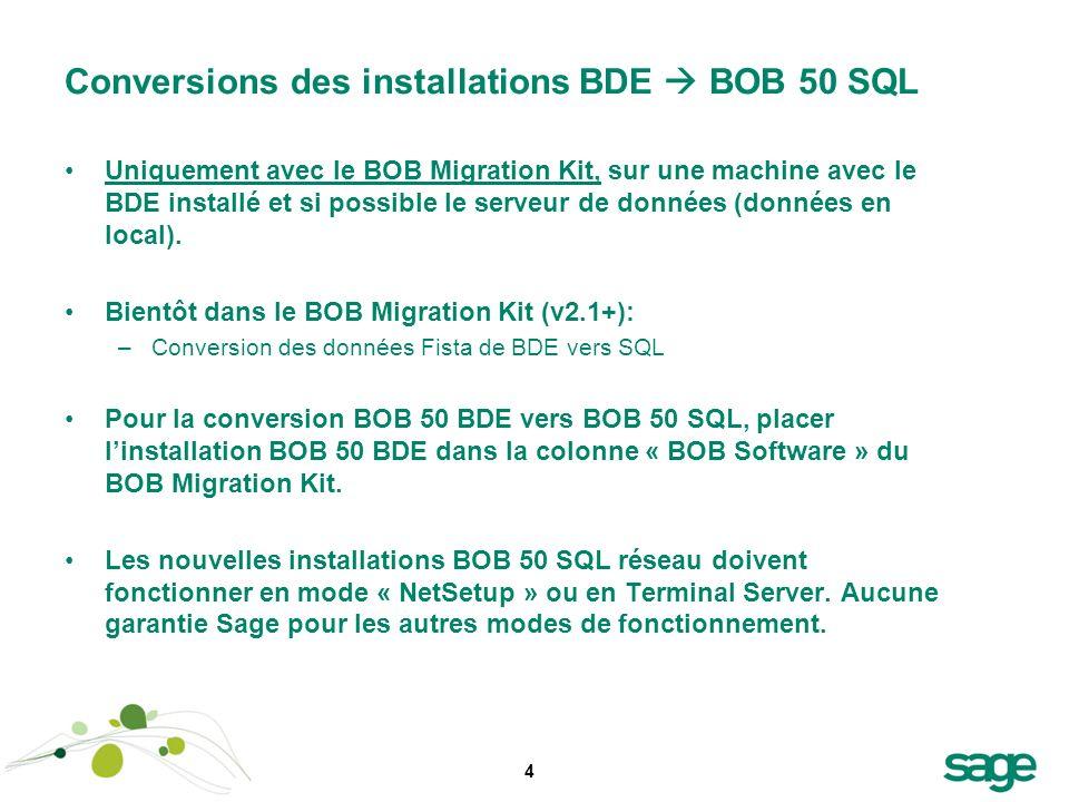 4 Conversions des installations BDE BOB 50 SQL Uniquement avec le BOB Migration Kit, sur une machine avec le BDE installé et si possible le serveur de
