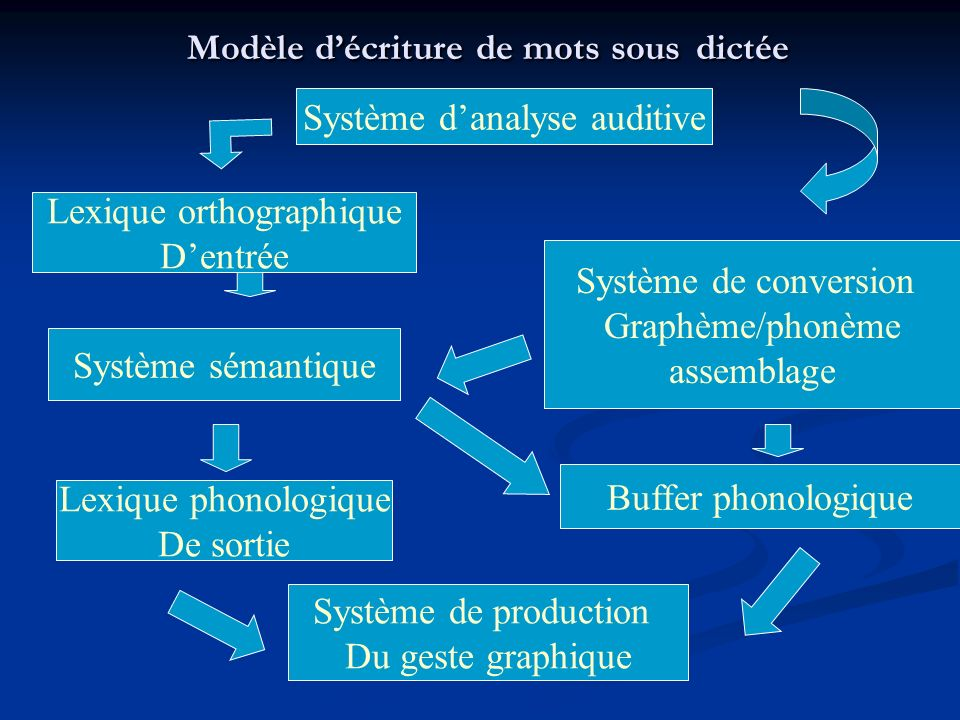 Modèle décriture de mots sous dictée Système danalyse auditive Lexique orthographique Dentrée Système sémantique Lexique phonologique De sortie Système de conversion Graphème/phonème assemblage Buffer phonologique Système de production Du geste graphique