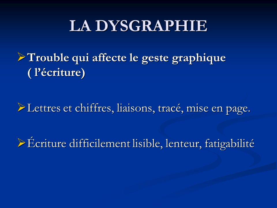 LA DYSGRAPHIE Trouble qui affecte le geste graphique ( lécriture) Trouble qui affecte le geste graphique ( lécriture) Lettres et chiffres, liaisons, tracé, mise en page.