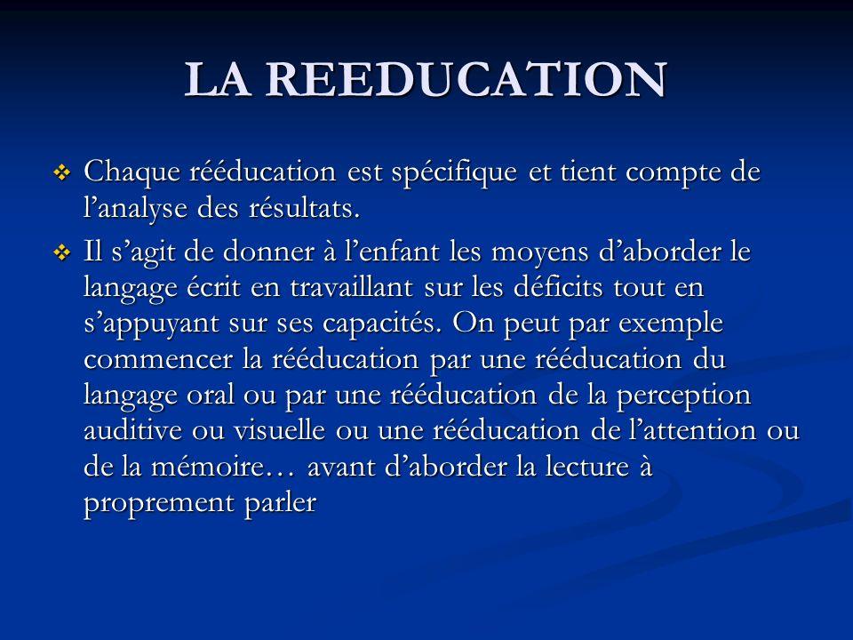 LA REEDUCATION Chaque rééducation est spécifique et tient compte de lanalyse des résultats.