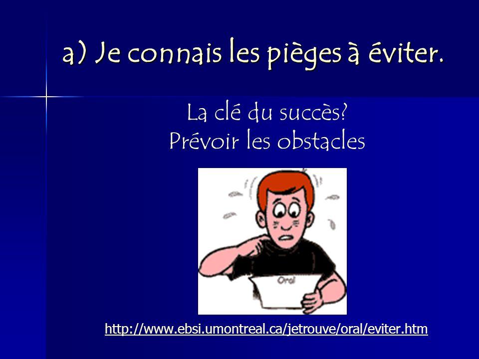 a) Je connais les pièges à éviter. La clé du succès? Prévoir les obstacles http://www.ebsi.umontreal.ca/jetrouve/oral/eviter.htm