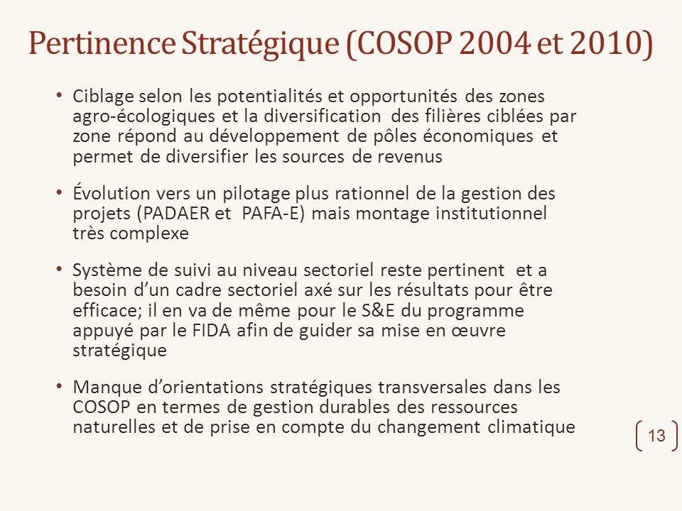 Pertinence Stratégique (COSOP 2004 et 2010) Ciblage selon les potentialités et opportunités des zones agro-écologiques et la diversification des filiè