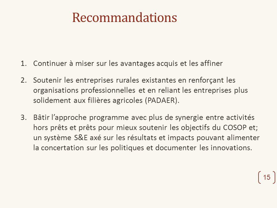 Recommandations 1.Continuer à miser sur les avantages acquis et les affiner 2. Soutenir les entreprises rurales existantes en renforçant les organisat