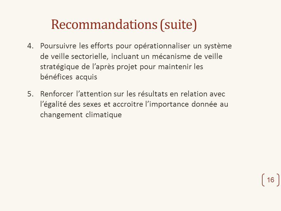 Recommandations (suite) 4. Poursuivre les efforts pour opérationnaliser un système de veille sectorielle, incluant un mécanisme de veille stratégique