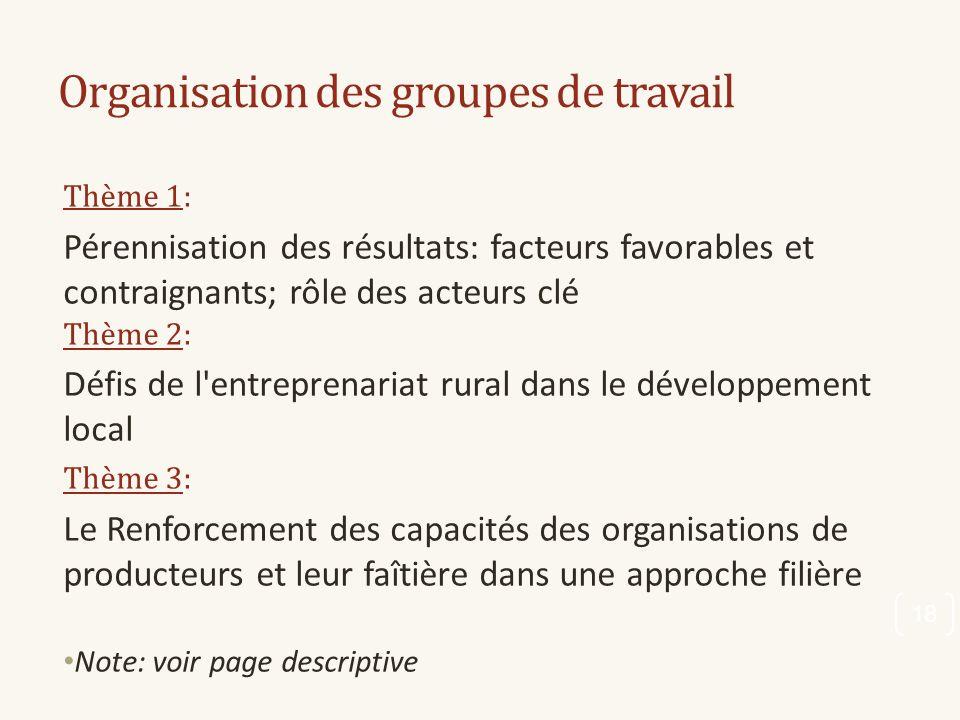 Organisation des groupes de travail Thème 1: Pérennisation des résultats: facteurs favorables et contraignants; rôle des acteurs clé Thème 2: Défis de
