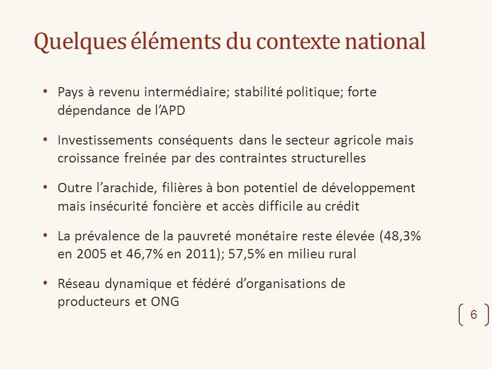 Quelques éléments du contexte national Pays à revenu intermédiaire; stabilité politique; forte dépendance de lAPD Investissements conséquents dans le