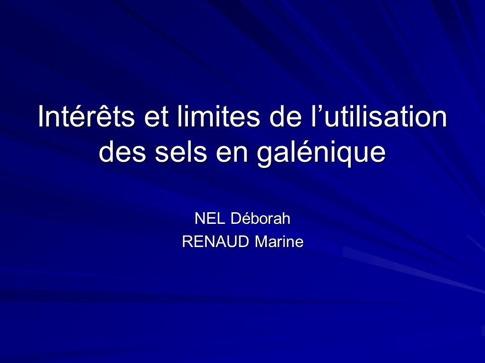 Introduction Galénique: art de la mise en forme médicaments Sel: Formation générale: - acide + base = sel + H 2 O.