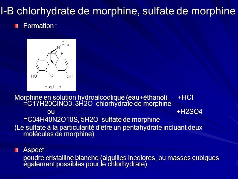 I-B chlorhydrate de morphine, sulfate de morphine Formation : Morphine en solution hydroalcoolique (eau+éthanol) +HCl =C17H20ClNO3, 3H2O chlorhydrate de morphine ou +H2SO4 ou +H2SO4 =C34H40N2O10S, 5H2O sulfate de morphine =C34H40N2O10S, 5H2O sulfate de morphine (Le sulfate à la particularité d être un pentahydrate incluant deux molécules de morphine) Aspect poudre cristalline blanche (aiguilles incolores, ou masses cubiques é galement possibles pour le chlorhydrate)