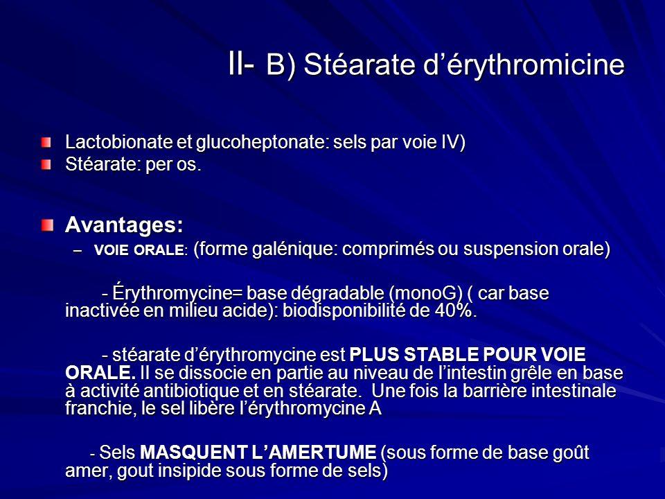 II- B) Stéarate dérythromicine Lactobionate et glucoheptonate: sels par voie IV) Stéarate: per os. Avantages: –VOIE ORALE: (forme galénique: comprimés