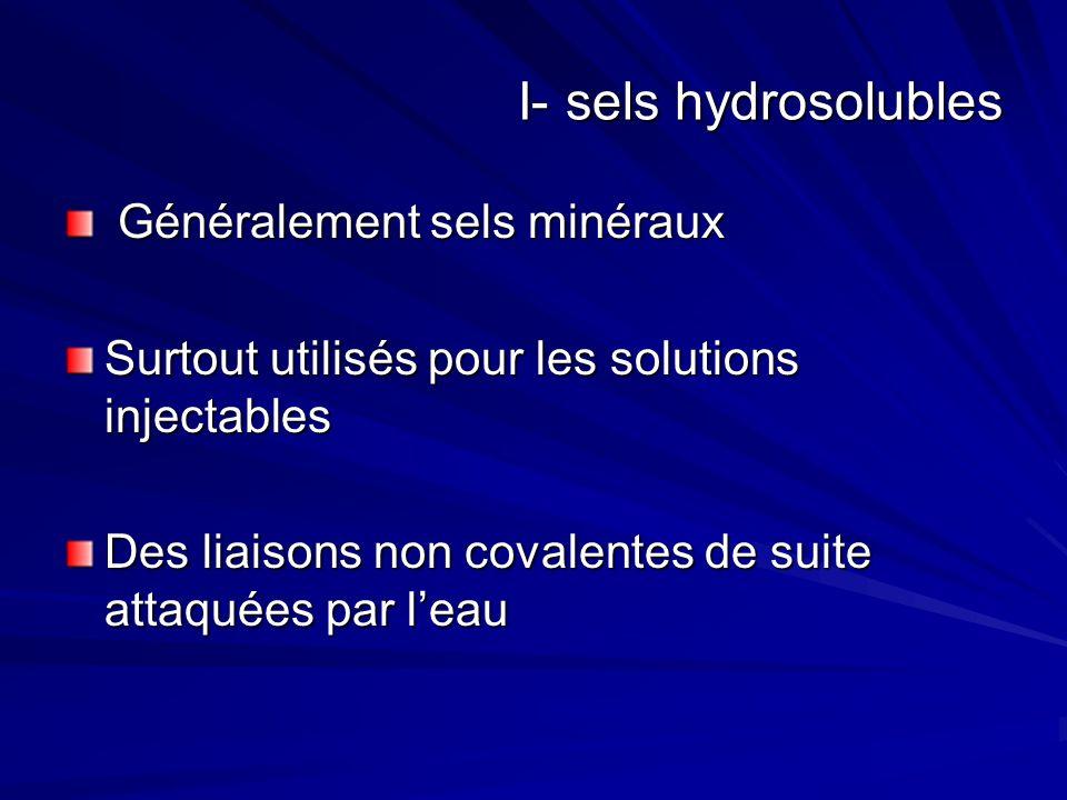 I- sels hydrosolubles Généralement sels minéraux Généralement sels minéraux Surtout utilisés pour les solutions injectables Des liaisons non covalentes de suite attaquées par leau