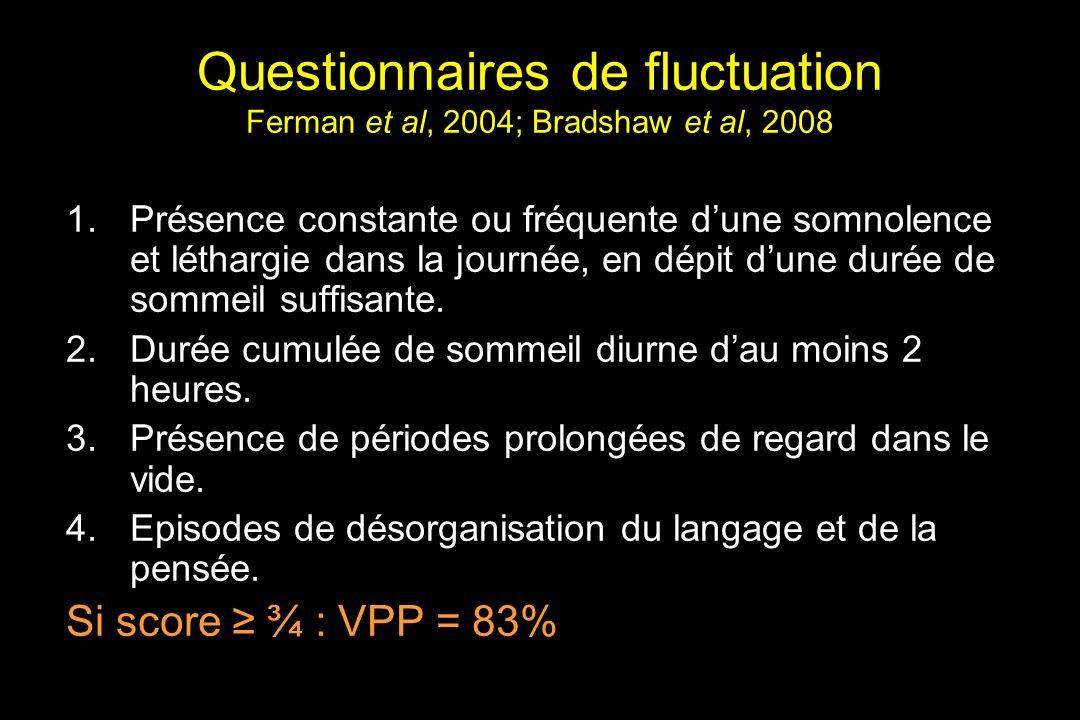 Questionnaires de fluctuation Ferman et al, 2004; Bradshaw et al, 2008 1.Présence constante ou fréquente dune somnolence et léthargie dans la journée, en dépit dune durée de sommeil suffisante.
