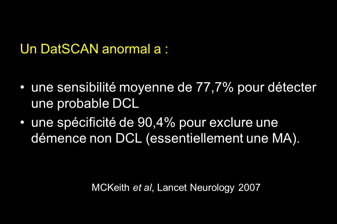 MCKeith et al, Lancet Neurology 2007 Un DatSCAN anormal a : une sensibilité moyenne de 77,7% pour détecter une probable DCL une spécificité de 90,4% pour exclure une démence non DCL (essentiellement une MA).