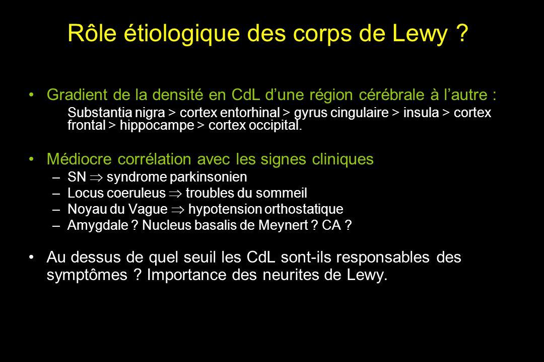 Rôle étiologique des corps de Lewy .