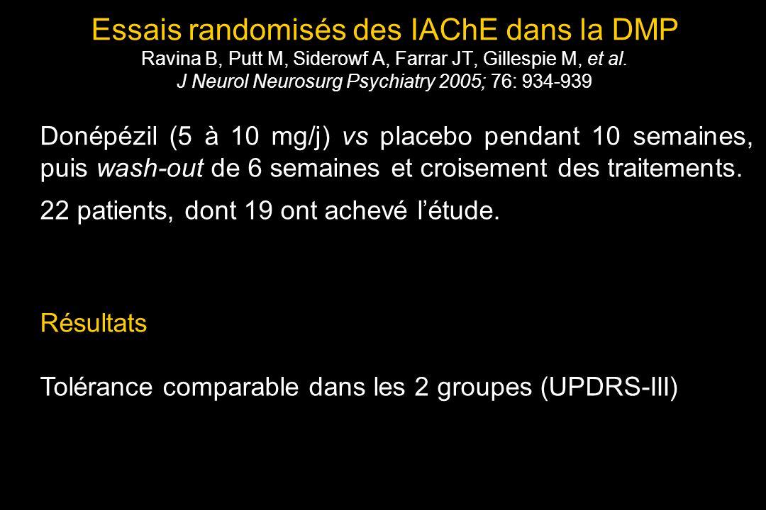 Essais randomisés des IAChE dans la DMP Ravina B, Putt M, Siderowf A, Farrar JT, Gillespie M, et al.