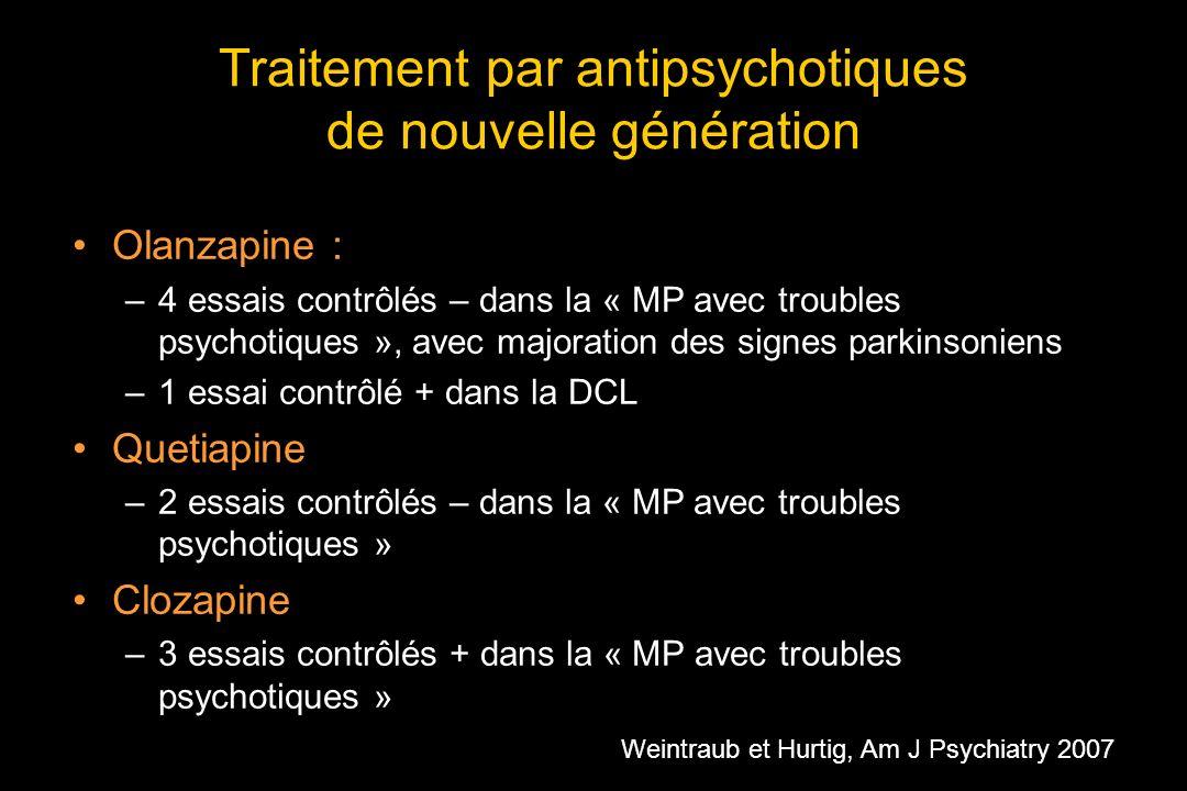 Traitement par antipsychotiques de nouvelle génération Olanzapine : –4 essais contrôlés – dans la « MP avec troubles psychotiques », avec majoration des signes parkinsoniens –1 essai contrôlé + dans la DCL Quetiapine –2 essais contrôlés – dans la « MP avec troubles psychotiques » Clozapine –3 essais contrôlés + dans la « MP avec troubles psychotiques » Weintraub et Hurtig, Am J Psychiatry 2007