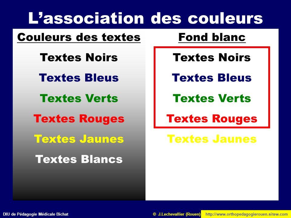 DIU de Pédagogie Médicale Bichathttp://www.orthopedagogierouen.sitew.com© J.Lechevallier (Rouen) Lassociation des couleurs Couleurs des textes Textes