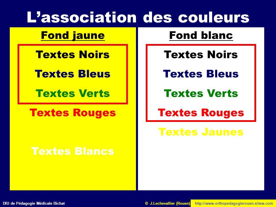 DIU de Pédagogie Médicale Bichathttp://www.orthopedagogierouen.sitew.com© J.Lechevallier (Rouen) Lassociation des couleurs Fond Noir Textes Noirs Text