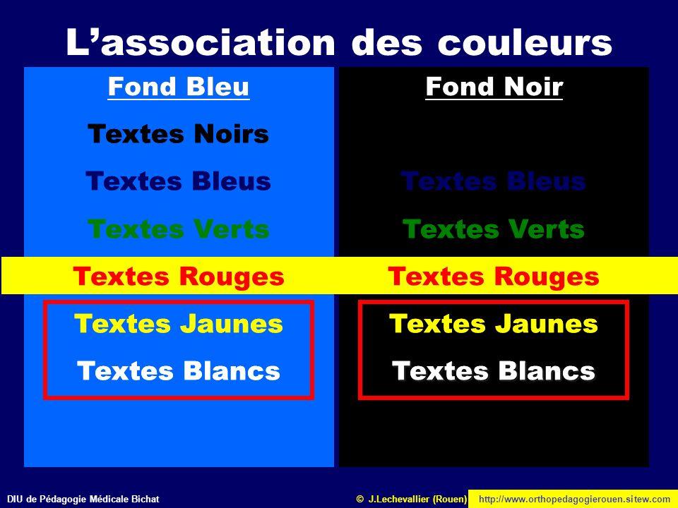 DIU de Pédagogie Médicale Bichathttp://www.orthopedagogierouen.sitew.com© J.Lechevallier (Rouen) Fond Bleu Textes Noirs Textes Bleus Textes Verts Text