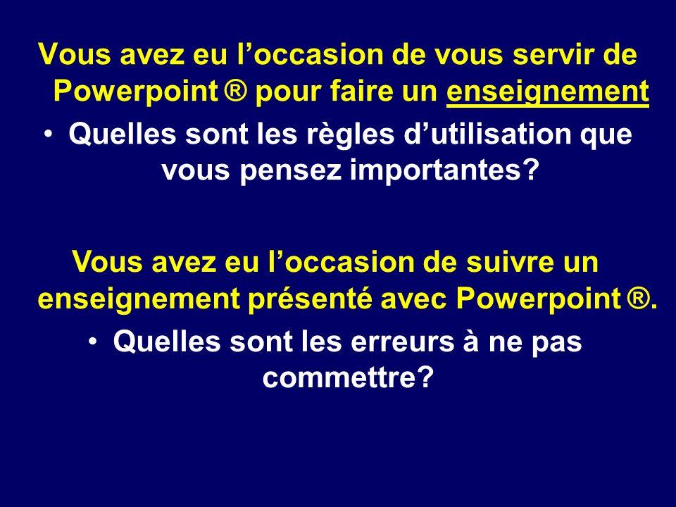 DIU de Pédagogie Médicale Bichathttp://www.orthopedagogierouen.sitew.com© J.Lechevallier (Rouen) Vous avez eu loccasion de vous servir de Powerpoint ®