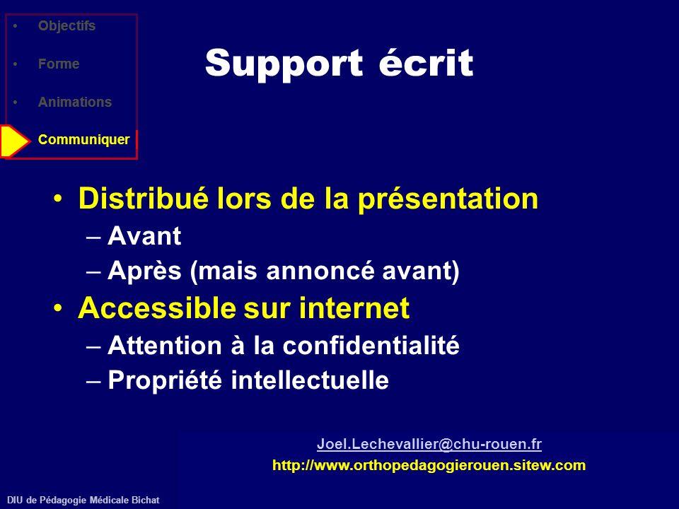 DIU de Pédagogie Médicale Bichathttp://www.orthopedagogierouen.sitew.com© J.Lechevallier (Rouen) Objectifs Forme Animations Communiquer Support écrit