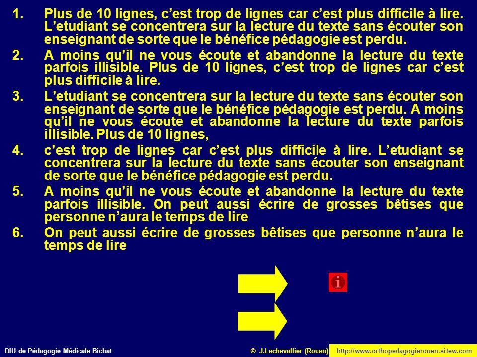 DIU de Pédagogie Médicale Bichathttp://www.orthopedagogierouen.sitew.com© J.Lechevallier (Rouen) 1.Plus de 10 lignes, cest trop de lignes car cest plu