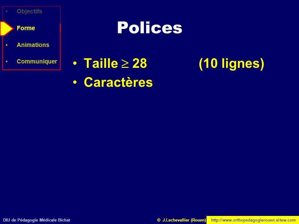 DIU de Pédagogie Médicale Bichathttp://www.orthopedagogierouen.sitew.com© J.Lechevallier (Rouen) Objectifs Forme Animations Communiquer Polices Taille