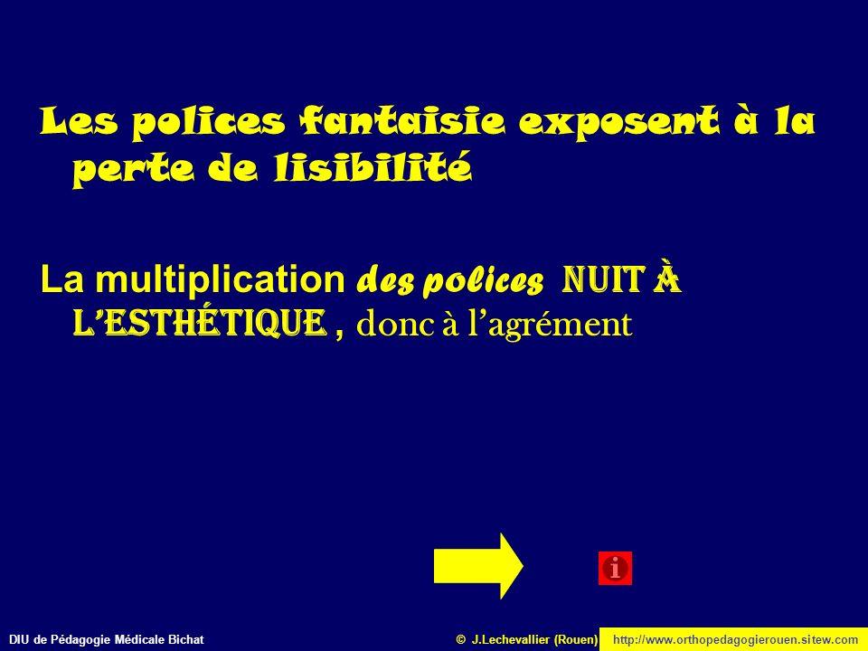 DIU de Pédagogie Médicale Bichathttp://www.orthopedagogierouen.sitew.com© J.Lechevallier (Rouen) Les polices fantaisie exposent à la perte de lisibili