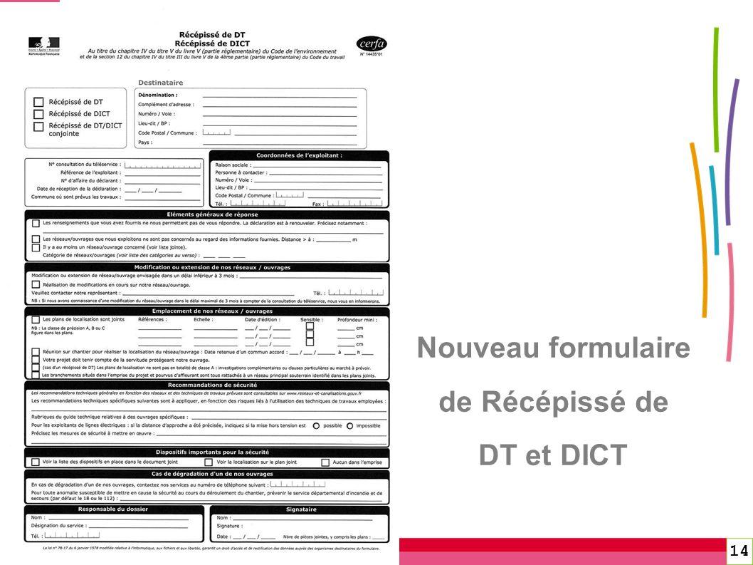 14 Nouveau formulaire de Récépissé de DT et DICT