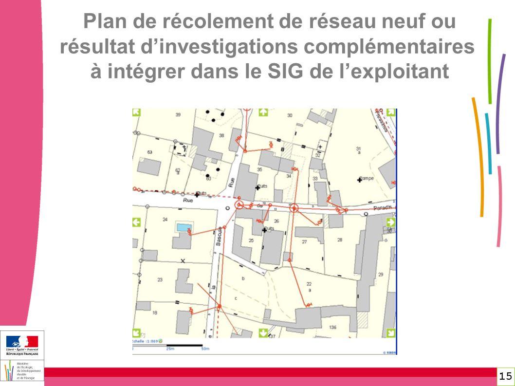 15 Plan de récolement de réseau neuf ou résultat dinvestigations complémentaires à intégrer dans le SIG de lexploitant