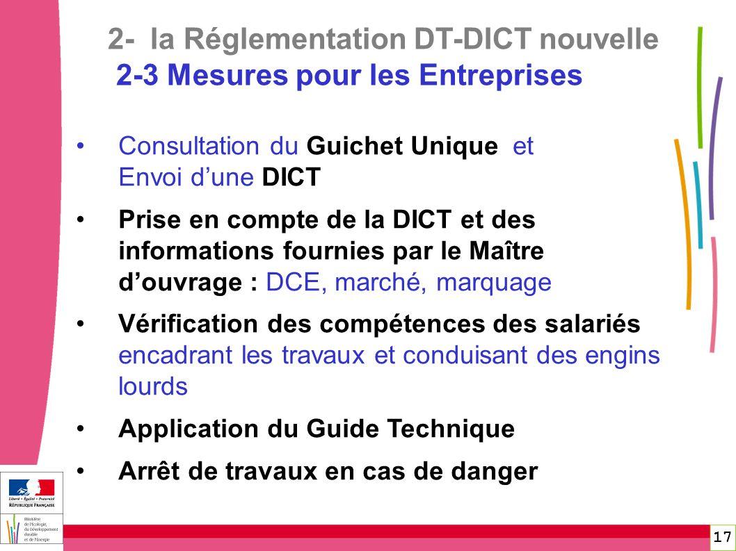 17 Consultation du Guichet Unique et Envoi dune DICT Prise en compte de la DICT et des informations fournies par le Maître douvrage : DCE, marché, mar