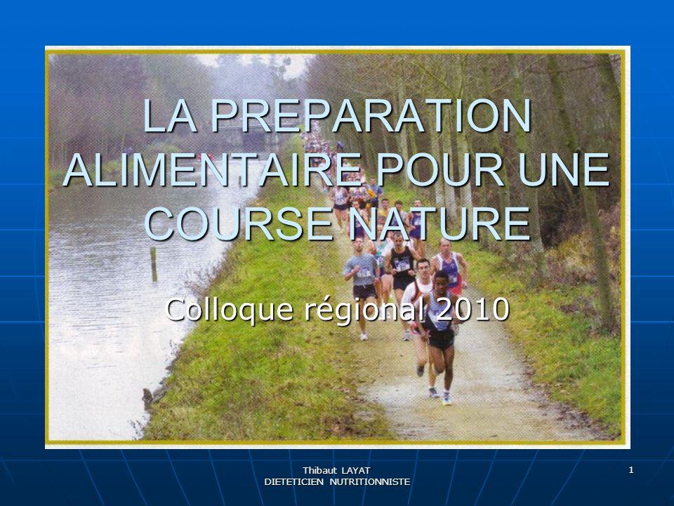 Thibaut LAYAT DIETETICIEN NUTRITIONNISTE 1 LA PREPARATION ALIMENTAIRE POUR UNE COURSE NATURE Colloque régional 2010