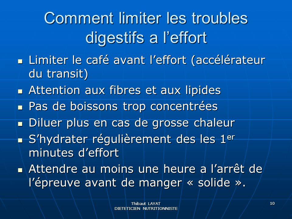 Thibaut LAYAT DIETETICIEN NUTRITIONNISTE 10 Comment limiter les troubles digestifs a leffort Limiter le café avant leffort (accélérateur du transit) L