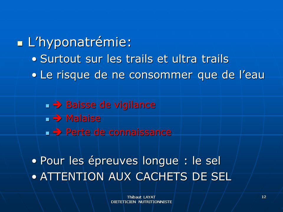 Thibaut LAYAT DIETETICIEN NUTRITIONNISTE 12 Lhyponatrémie: Lhyponatrémie: Surtout sur les trails et ultra trailsSurtout sur les trails et ultra trails