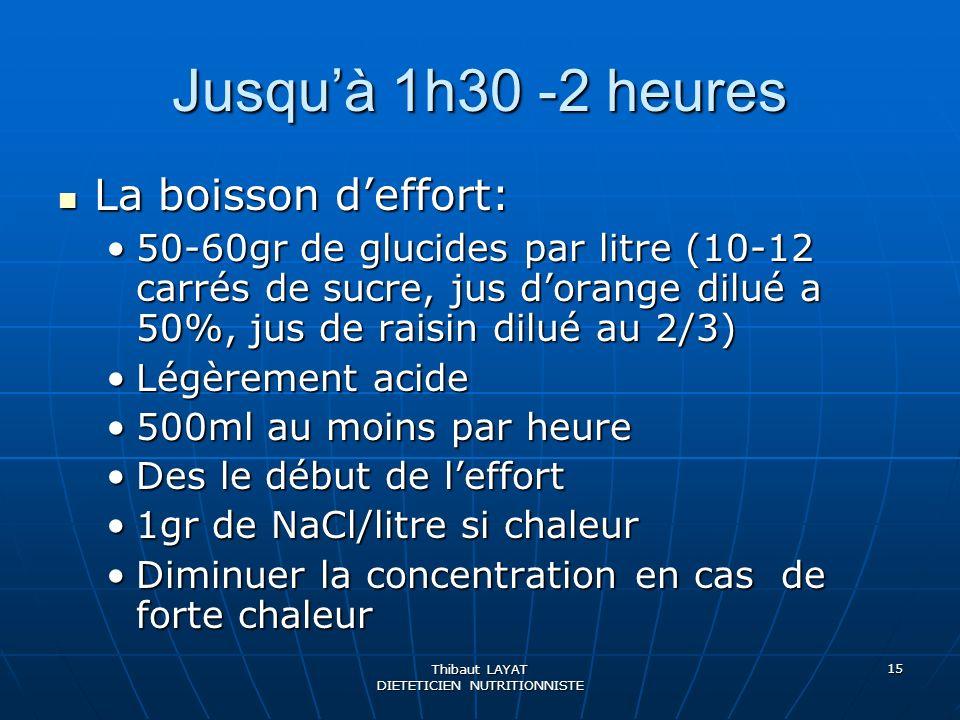 Thibaut LAYAT DIETETICIEN NUTRITIONNISTE 15 Jusquà 1h30 -2 heures La boisson deffort: La boisson deffort: 50-60gr de glucides par litre (10-12 carrés