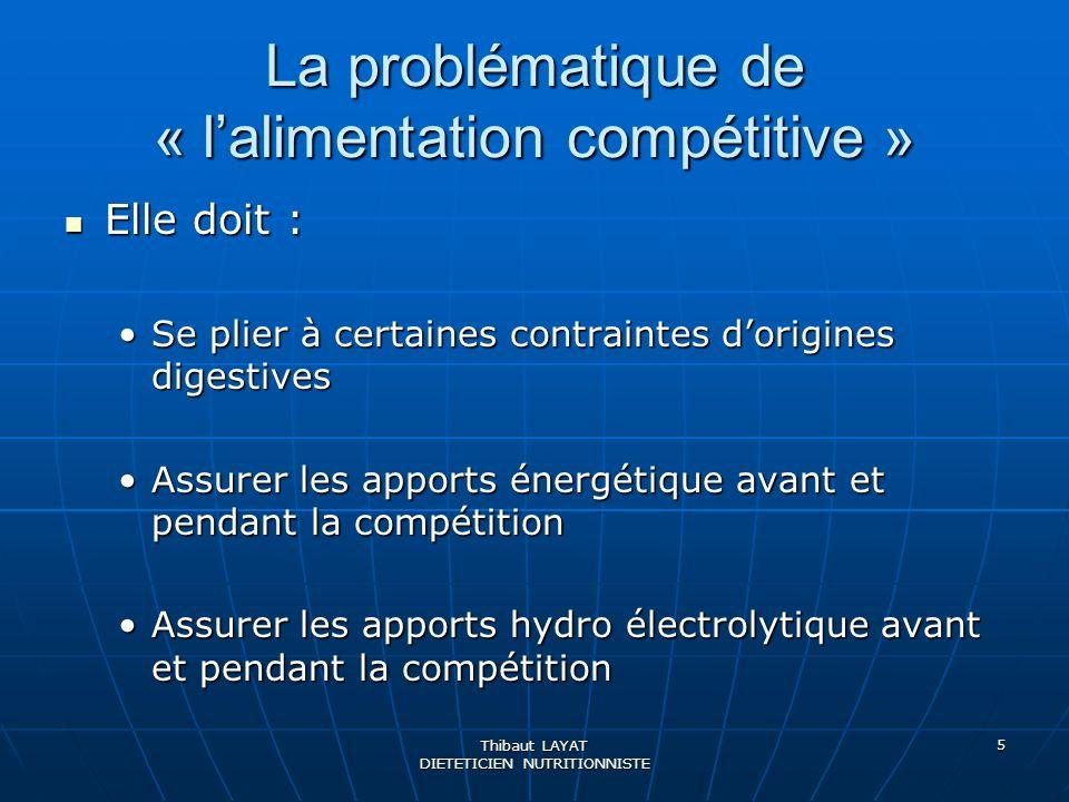 Thibaut LAYAT DIETETICIEN NUTRITIONNISTE 5 La problématique de « lalimentation compétitive » Elle doit : Elle doit : Se plier à certaines contraintes
