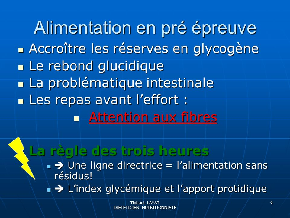 Thibaut LAYAT DIETETICIEN NUTRITIONNISTE 6 Alimentation en pré épreuve Accroître les réserves en glycogène Accroître les réserves en glycogène Le rebo