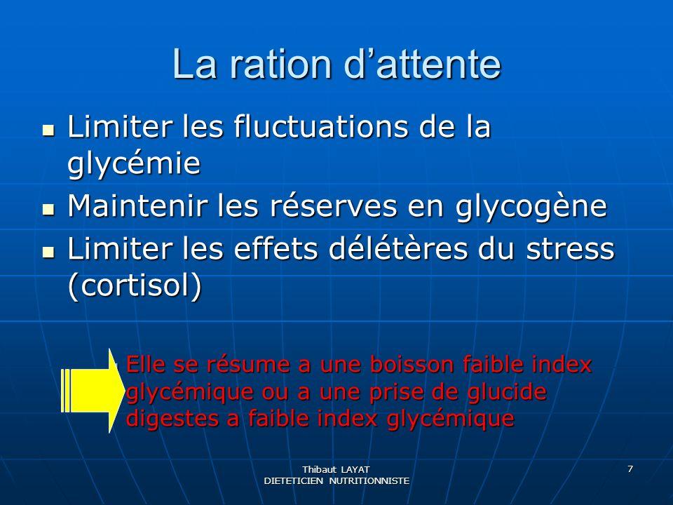 Thibaut LAYAT DIETETICIEN NUTRITIONNISTE 7 La ration dattente Limiter les fluctuations de la glycémie Limiter les fluctuations de la glycémie Mainteni
