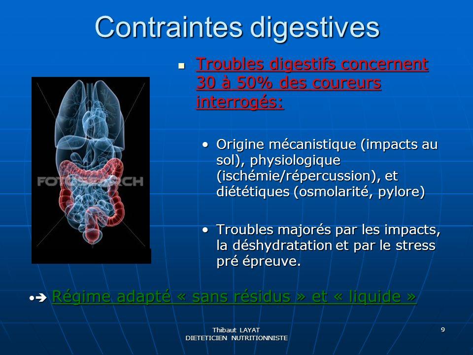 Thibaut LAYAT DIETETICIEN NUTRITIONNISTE 9 Contraintes digestives Troubles digestifs concernent 30 à 50% des coureurs interrogés: Troubles digestifs c