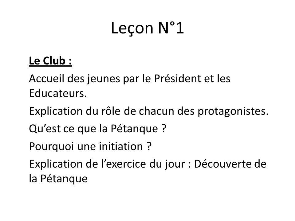 Leçon N°1 Le Club : Accueil des jeunes par le Président et les Educateurs.