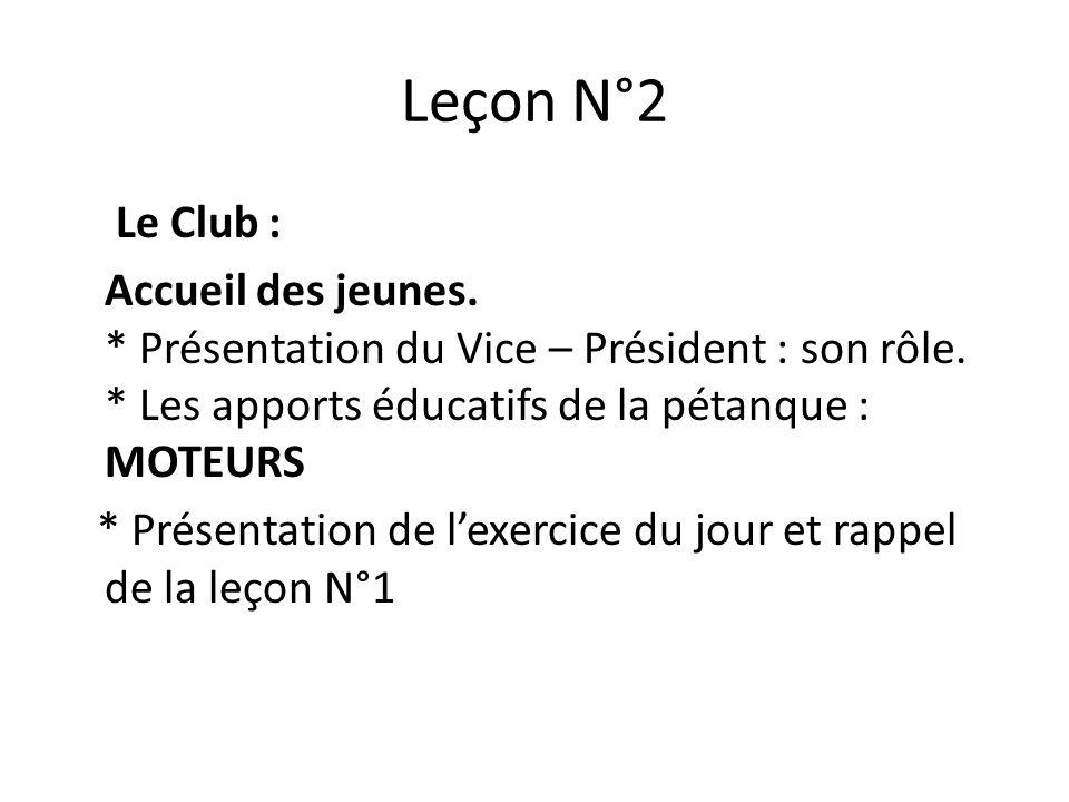 Leçon N°2 Le Club : Accueil des jeunes.* Présentation du Vice – Président : son rôle.