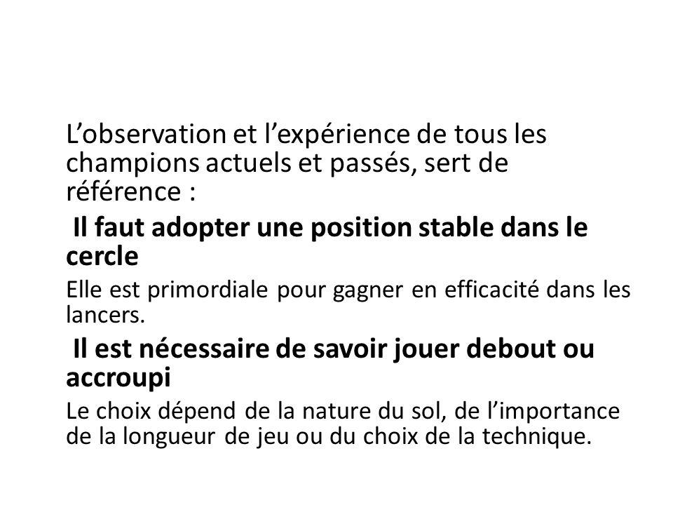 Lobservation et lexpérience de tous les champions actuels et passés, sert de référence : Il faut adopter une position stable dans le cercle Elle est primordiale pour gagner en efficacité dans les lancers.