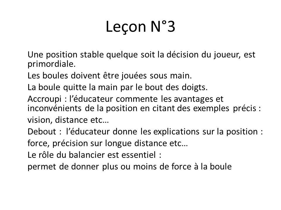 Leçon N°3 Une position stable quelque soit la décision du joueur, est primordiale.