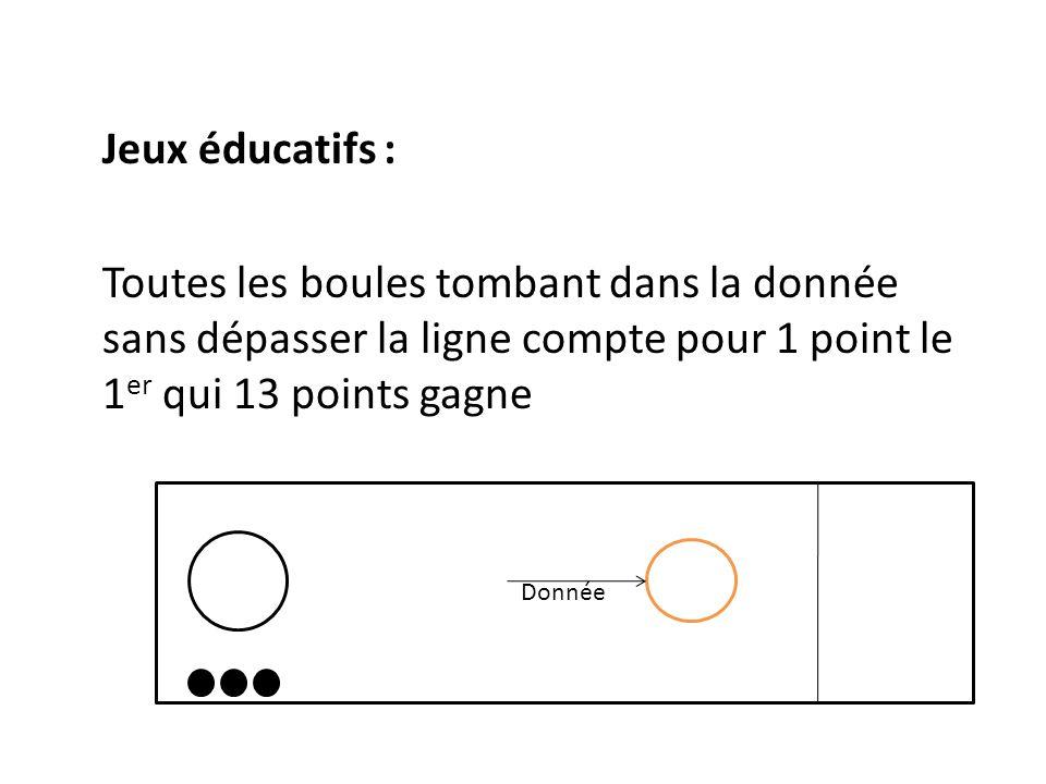 Jeux éducatifs : Toutes les boules tombant dans la donnée sans dépasser la ligne compte pour 1 point le 1 er qui 13 points gagne Donnée