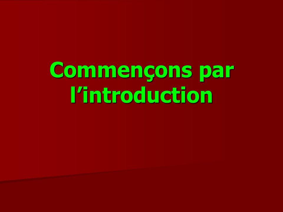 Information générale Lobjectif dune introduction est de préparer le lecteur à recevoir linformation quil va obtenir dans le « corps » du texte.