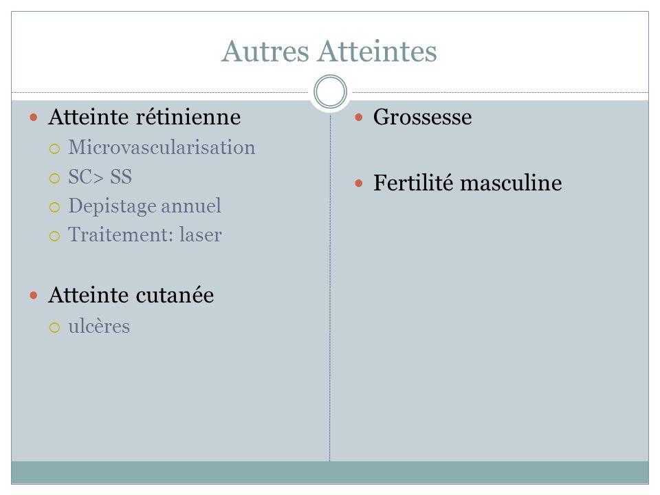 Autres Atteintes Atteinte rétinienne Microvascularisation SC> SS Depistage annuel Traitement: laser Atteinte cutanée ulcères Grossesse Fertilité masculine
