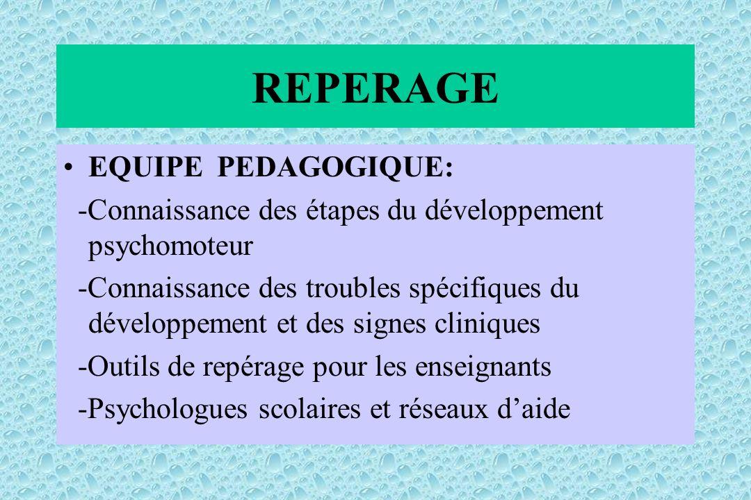 EQUIPE PEDAGOGIQUE: -Connaissance des étapes du développement psychomoteur -Connaissance des troubles spécifiques du développement et des signes cliniques -Outils de repérage pour les enseignants -Psychologues scolaires et réseaux daide REPERAGE