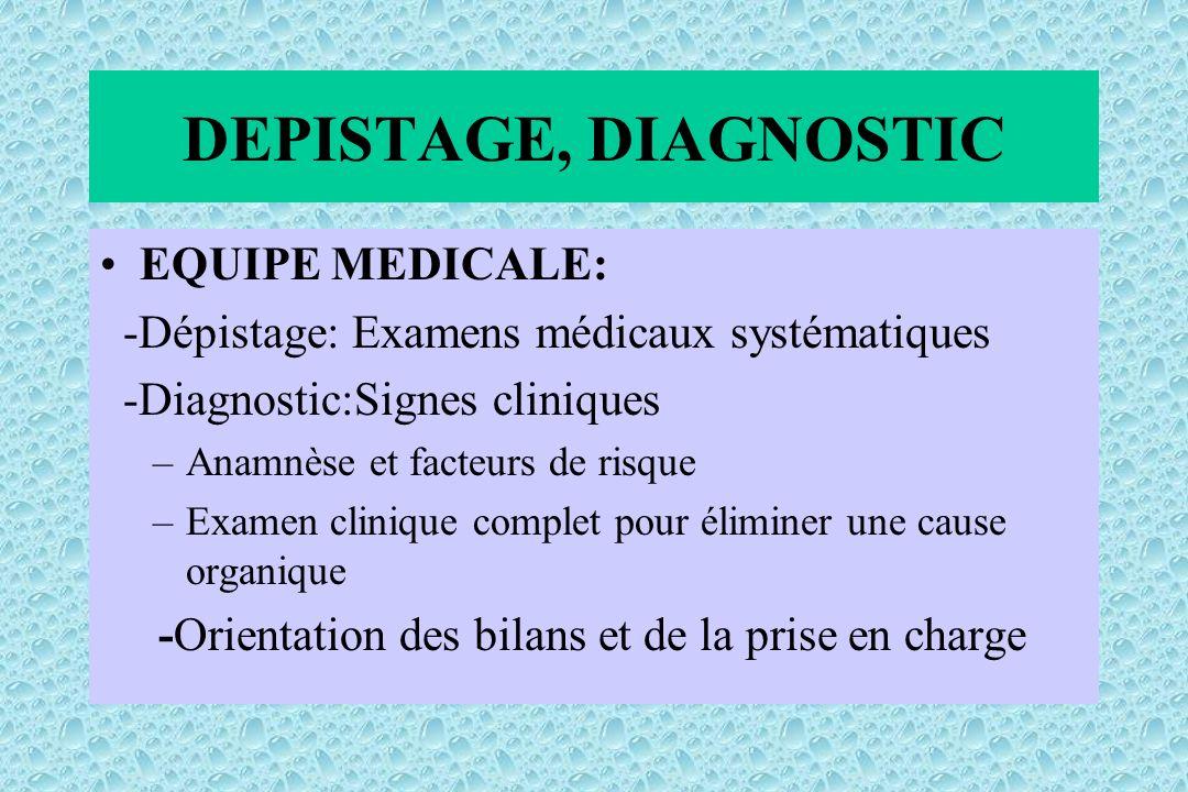 EQUIPE MEDICALE: -Dépistage: Examens médicaux systématiques -Diagnostic:Signes cliniques –Anamnèse et facteurs de risque –Examen clinique complet pour