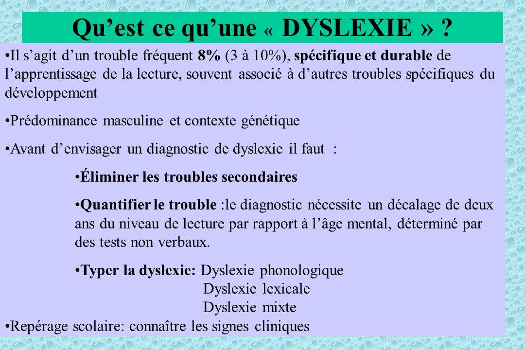 Quest ce quune « DYSLEXIE » ? Il sagit dun trouble fréquent 8% (3 à 10%), spécifique et durable de lapprentissage de la lecture, souvent associé à dau