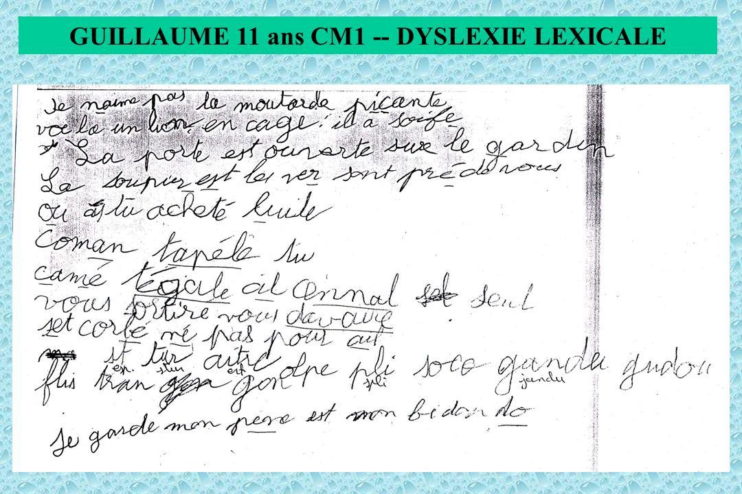GUILLAUME 11 ans CM1 -- DYSLEXIE LEXICALE
